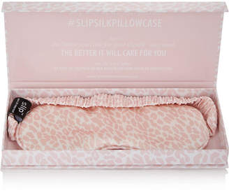 Slip - Leopard-print Silk Eye Mask - Pink