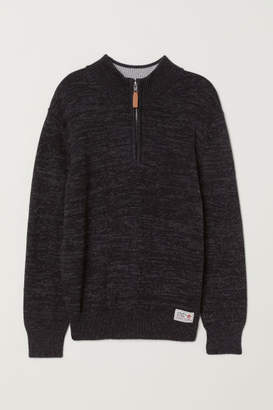 H&M Knit Sweater with Collar - Black