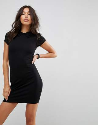 Asos Mini Bodycon Dress With Lace Collar And Sleeves