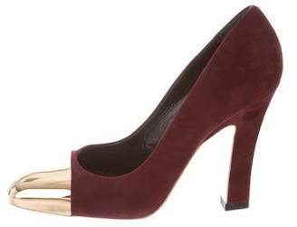 Saint Laurent Cap-Toe Suede Pumps