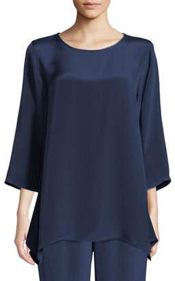 Caroline Rose Round-Neck 3/4-Sleeve Silk Crepe Swing Tunic Top, Plus Size