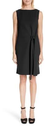 Oscar de la Renta Side Tie Wool Blend Crepe Dress
