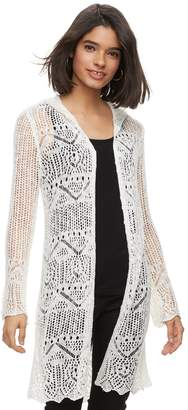 It's Our Time Its Our Time Juniors' Pointelle Hooded Cardigan