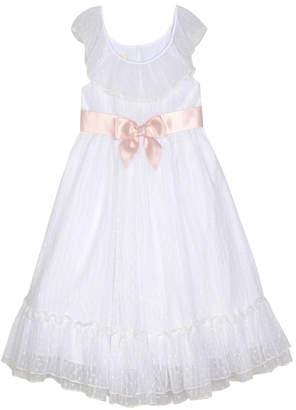 Laura Ashley Baby Girl Ruffle Neck Dress with Sash