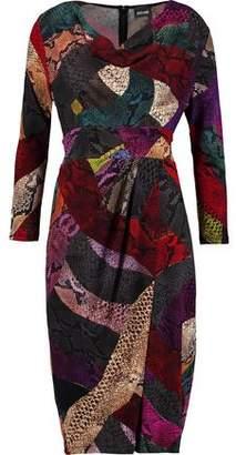 Just Cavalli Wrap-effect Draped Snake-print Jersey Dress