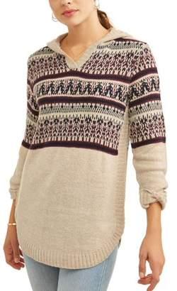N. Heart Crush Women's Fair Isle Hooded Sweater
