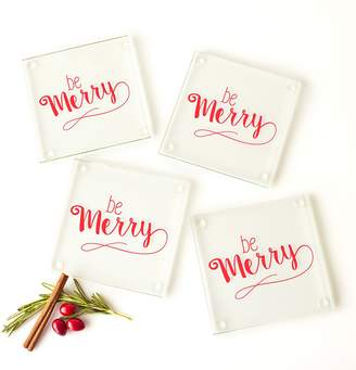 "Cathy's Concepts Cathys Concepts Be Merry"" 4-pc. Glass Coaster Set"