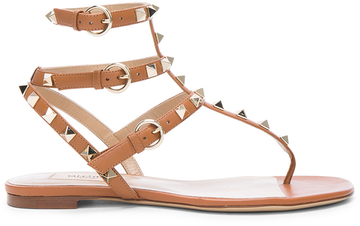 Valentino Leather Rockstud Gladiator Sandals