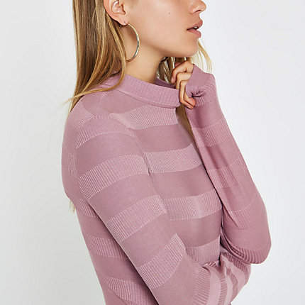 Womens Pink high neck ribbed jumper