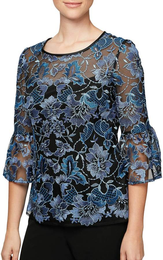 Alex Evenings 3/4 Bell Sleeve Embroidered Blouse