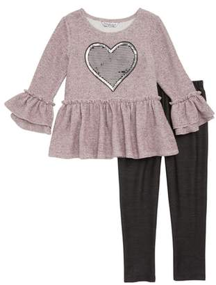 Pippa & Julie Sequin Heart Peplum Top & Leggings Set