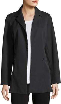 Misook Notch-Lapel Stretch-Cotton Jacket, Petite