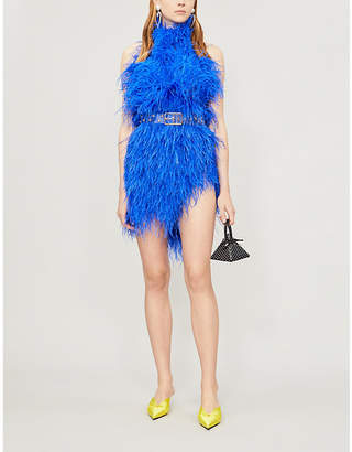 ATTICO High-neck feather mini dress