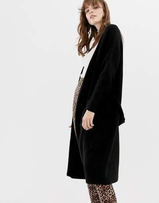 Monki ribbed midi cardigan in black