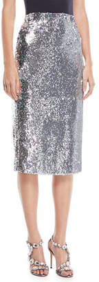 Milly Jami Sequined Pencil Skirt