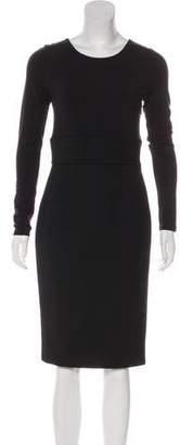 Paule Ka Long Sleeve Wool Dress