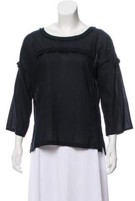 Figue Fringe Accented Quarter-Sleeve Top