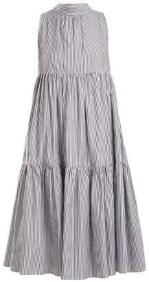 Asceno - Neck Tie Striped Cotton Dress - Womens - Black Stripe