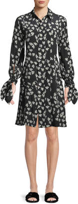 Derek Lam Tie-Cuffs Button-Front Floral-Print Silk Shirtdress w/ Pleating