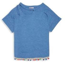 Design History Girl's Pom-Pom Trim Top