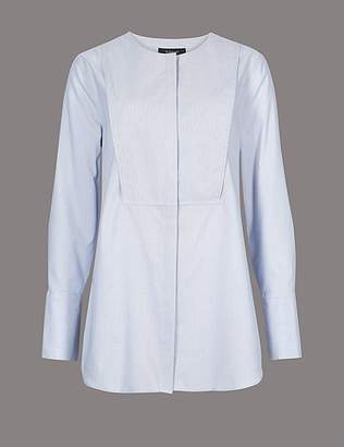 Marks and Spencer Pure Cotton Round Neck Long Sleeve Shirt