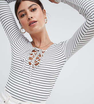 Missguided Lace Up Stripe Body