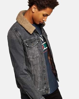 Topman Borg Collar Denim Jacket