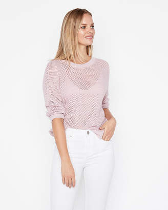 Express Solid Open Stitch Pullover Sweater