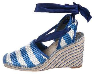 Balenciaga Straw Espadrille Wedge Sandals