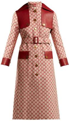 Gucci Gg Canvas Cotton Trench Coat - Womens - Red Multi