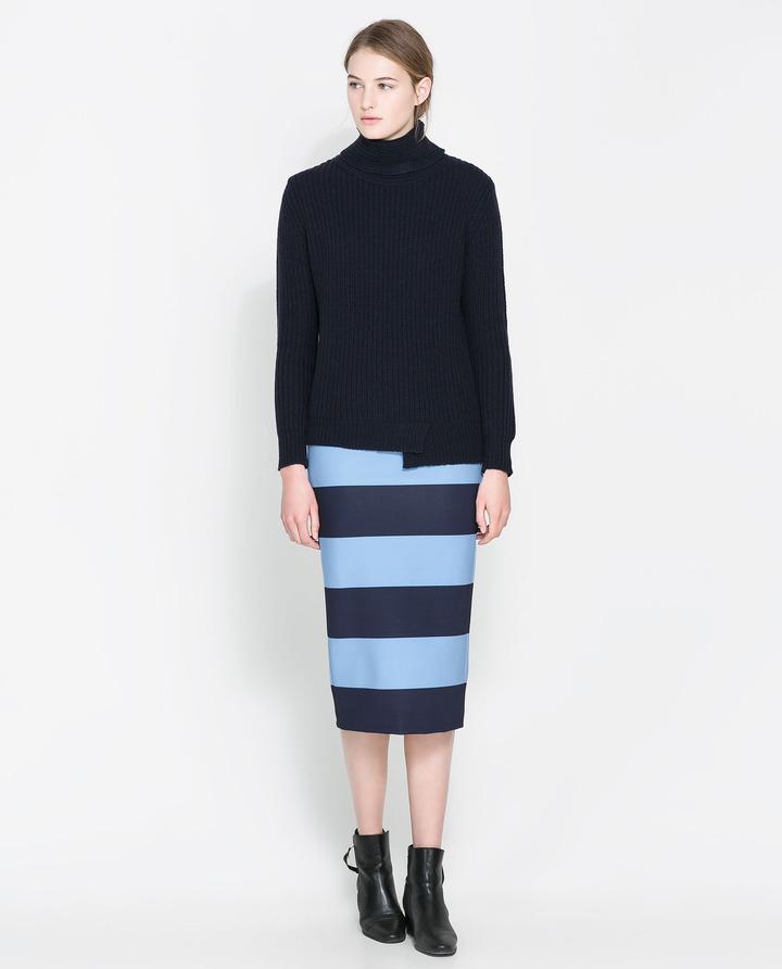 Zara Striped Pencil Skirt