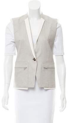 Helmut Lang Leather-Trimmed Button-Up Vest