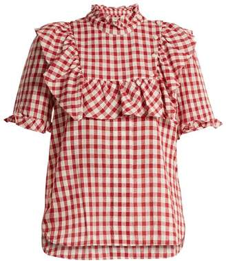 Lee Mathews - Germaine Ruffle Trimmed Cotton Gingham Top - Womens - Burgundy White