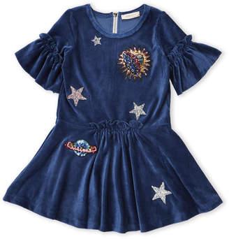 Baby Sara Girls 4-6x) Blue Stars Ribbed Chenille Dress