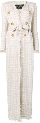 Balmain long belted coat