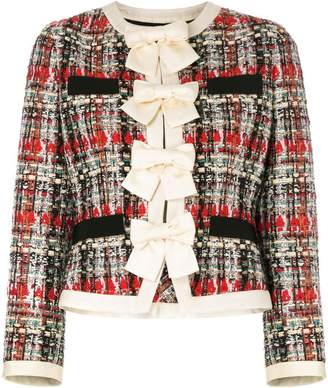 Gucci bow-embellished tweed jacket
