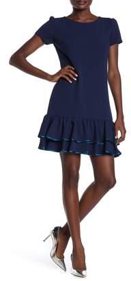 Betsey Johnson Pipe Trim Ruffle Hem Dress