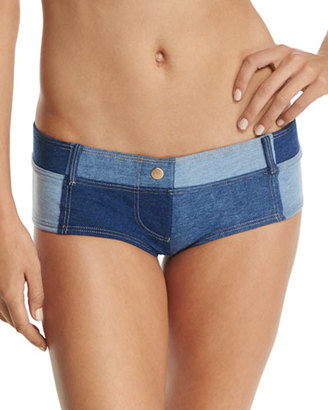 Seafolly Out-Of-The-Blue Boyleg Swim Bottom, Denim Blue $72 thestylecure.com