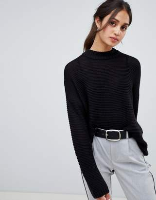 Bershka knitted jumper in black