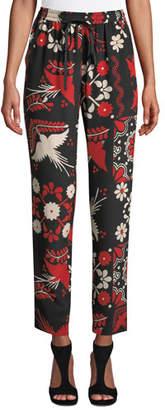 RED Valentino Terrace-Print Silk Crepe de Chine Drawstring Jogger Pants