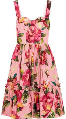 Dolce & Gabbana - Floral-print Cotton-poplin Midi Dress - Pink