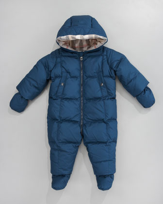 Burberry Hooded Snowsuit with Snap-On Mittens & Booties, Mallard Blue