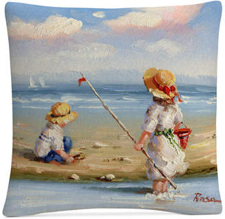 "Trademark Global Rosa At the Beach Iii 16"" x 16"" Decorative Throw Pillow"