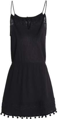 Heidi Klein Lace-Trimmed Cotton-Gauze Mini Dress