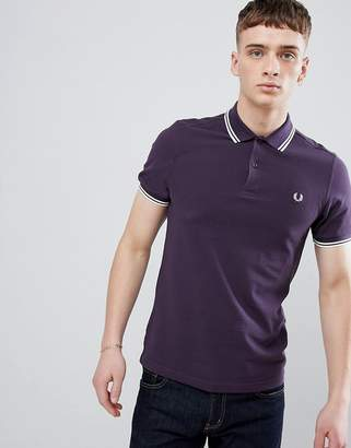 Fred Perry Twin Tipped Polo In Purple