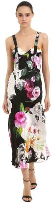 Off-White Floral Printed Long Silk Dress