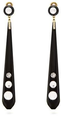 Miu Miu Crystal Embellished Plexi Clip On Earrings - Womens - Black