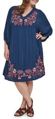 Junarose Plus Embroidered Puff-Sleeve Dress