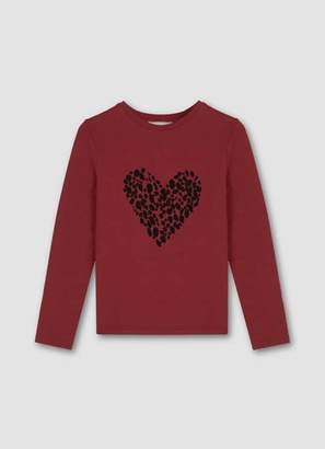 Mint Velvet Berry Heart Motif Jersey Top
