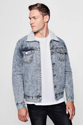 boohoo Acid Wash Fully Borg Lined Denim Jacket